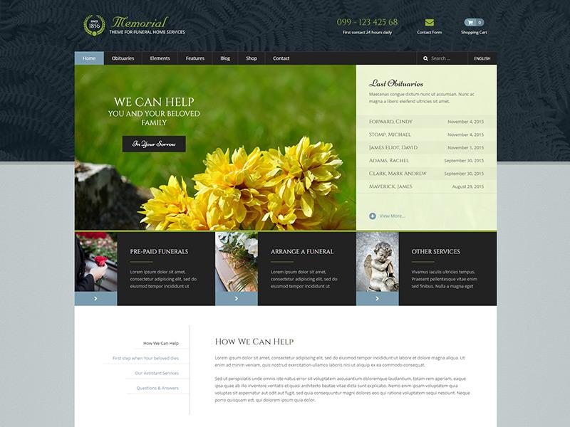 Memorial WordPress Theme theme wordpress multilingual slider easy obituaries home funeral memorial