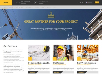Brick WordPress Theme wordpress multilingual theme business project company construction builders
