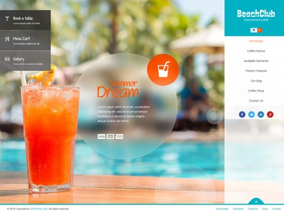 Beachclub WordPress Theme theme wordpress multilingual fullscreen food menu bistro snack-bar party bar club beach