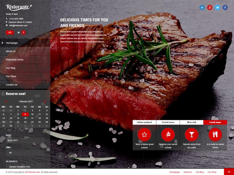 Ristorante+ WordPress Theme theme wordpress multilingual responsive reservation photo delicious food chef cafe bar restaurant