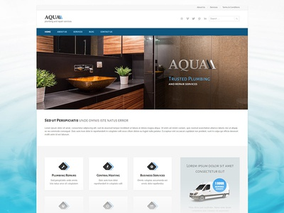 Aqua WordPress Theme theme wordpress slider revolution business craftsmen handymen plumbers