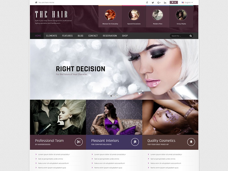 Hair WordPress Theme style perfectlook beauty salons hair