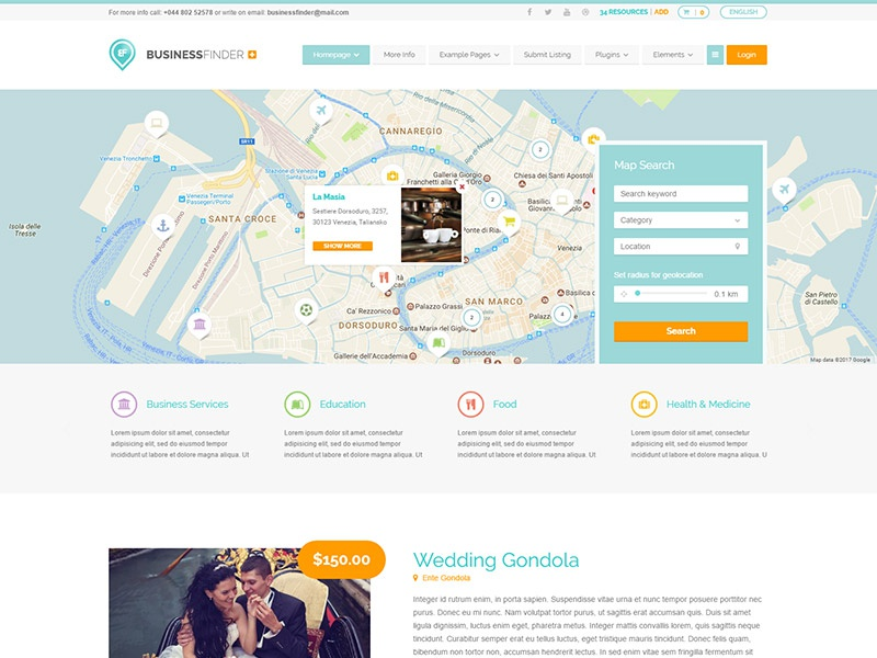 Business Finder+ WordPress Theme directory portal listings theme wordpress directory business