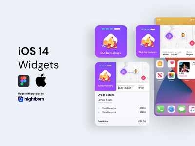 iOS 14 Widget - Delivery App UI app design ios14 widget map food delivery service ui delivery app delivery mobile app mobile ui