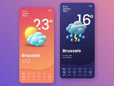 Weather App UI Design cloud sky illustration rain sun weather app ui mobile app mobile ui