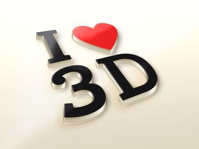 [Free]  I Love 3D logo Mockup PSD