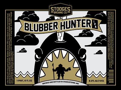 Stooges Brewing Co. Presents: Blubber Hunter IPA craftbeer brewing company bostonbeer boston beer sailor whale packagedesign labeldesign label beerbranding beer bottle branding vector design illustration