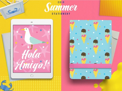 Summer Stationery Seagull & Ice Cream