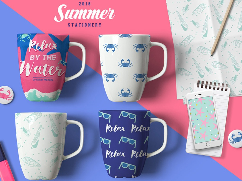 Summer Stationery Mugs mockup illustration brand identity brand style guide layout design beach summer icons