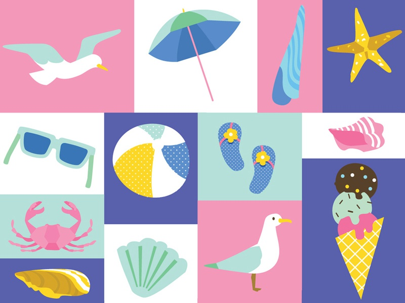Summer Stationery Icons illustration brand identity brand style guide design beach summer icons