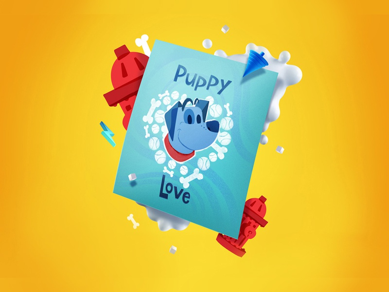 Franky Puppy Love Poster cute character character design blue dog poster puppy icons icon