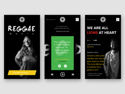 Reggae Music & It's Impact adobe xd black design positive lions photography ux ui equality culture music reggae