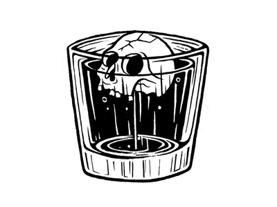 """""""whiskey bent, hell bound"""" salt lake city print design shirt design simple alcohol whiskey skull ruin logo branding design illustration"""