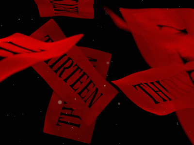 Still from an upcoming reel animation branding thirteen reel red typography 3d cycles4d xparticles c4d motion graphics