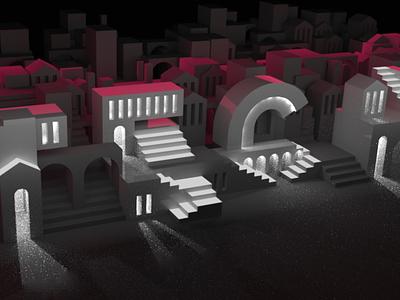 Typographic Architecture architecture c4d dark motion animation cinema4d typography 3d