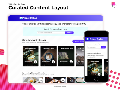 Curated Content Layout design ui ux cards curated events