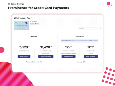 Prominence for Credit Card Payments information architecture ia hierarchy prominence microcopy payments credit card breakdown analysis ui ux