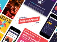 Designing Hack@Brown brand confetti conference hackathon montage