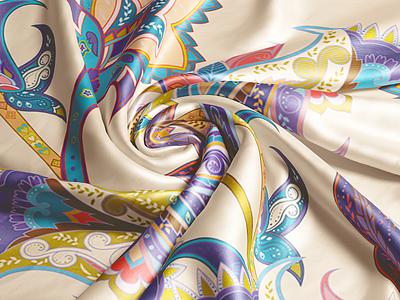Silk Closeup Mock-up illustration photoshop 3d pattern fabric silk mockup