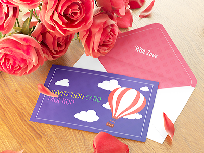 Postcard / Invitation Card with Envelope Mock-up mockup mock up logo invitation greeting flyer envelope rose card brochure postcard