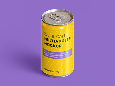 Can Mock-up (222 ml) label logo template psd drink brand mock-up can mock-up soda tea beer can