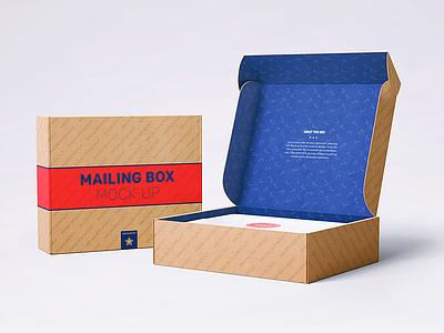 Shipping / Mailing Box Mock-Up christmas gift cardboard shop template mockup moving boxes postal mailing box mock-up