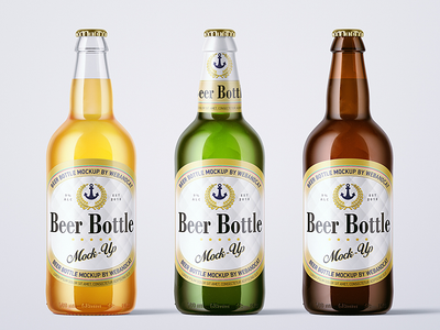 500ml Beer Bottle Mock-up beer packaging mock-up label lager cap glass green glass amber glass beer bottle