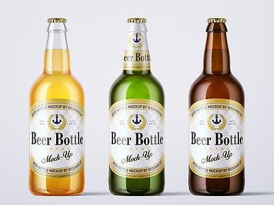 500ml Beer Bottle Mock-up beer packaging mock-up label lager cap glass green glass amber glass beer bottle