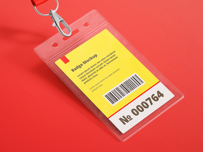 Name Tag / ID Badge Mock-up name tag name badge mockup mock up logo lanyard label identity card id card id design credential corporate certificate card holder card business branding autorization