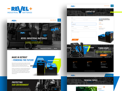 Revel Industrial Batteries Website Design web design website chartreuse orange blue heavy equipment battery brand identity art direction