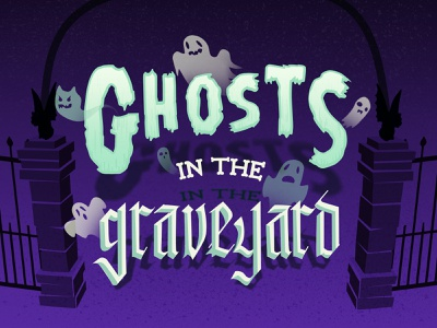 Ghosts In The Graveyard october halloween comics blackletter gothic typography mint purple graveyard spooky specters ghosts