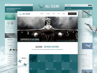 AllClear Website Design emerald mint teal branding content architecture website webdesign clouds sky aircraft military fighter jet aerospace