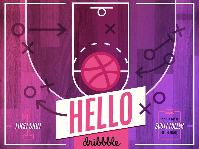 Hello Dribbble! basketball vivid color pink debut hello dribbble typography design illustration