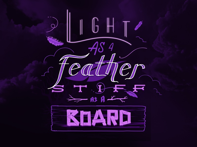 Light As A Feather - Type Series 3/3 witchcraft purple hand drawn illustration vector legend myth spooky halloween lettering
