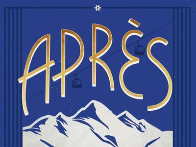 Après ski snowboarding snow mountains blue distressed texture wintersports ski poster