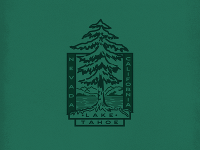 Lake Tahoe Badge lake trees nature illustration vector art logos logo design badge