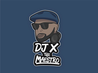 Final Logo for DJ X The Maestro - Blue design blue graphic design vector logo branding illustration lettering typography type