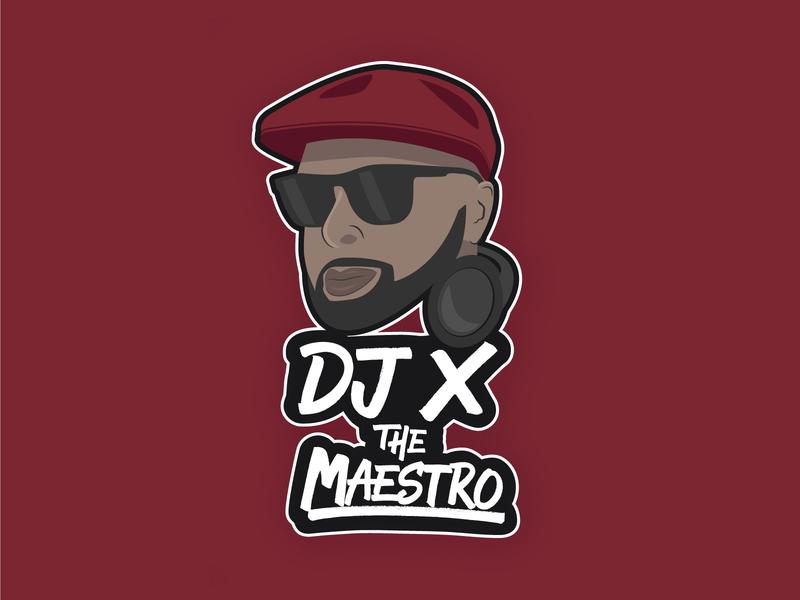 Final Logo for DJ X The Maestro - Maroon burgundy maroon graphic design logo dj logo dj branding vector illustration lettering typography type