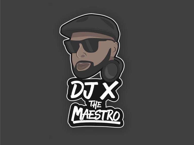 Final Logo for DJ X The Maestro - Black black logo design graphic design branding vector illustration lettering typography type