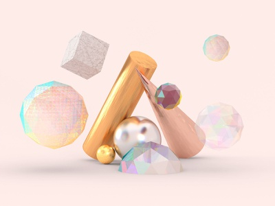 Gems - Simple Shapes but everything is in details materials abstract blender 3d illustration