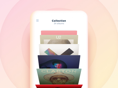 Music collection browsing concept cover coverflow animation ios carousel perspective 3d music collection albums vinyl audio player interactive concept minimal mobile app