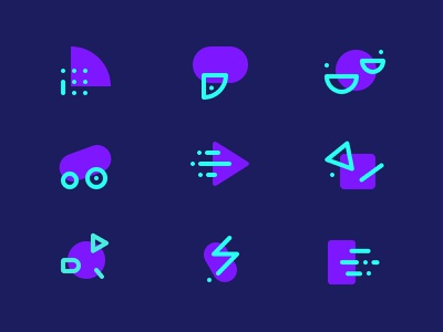 Abstract AI Icons - Branding artificial intelligence branding abstract logo logo audio voice automotive plain line set iconography icons icon flat illustration ui abstract
