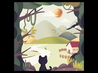 A cat and landscape