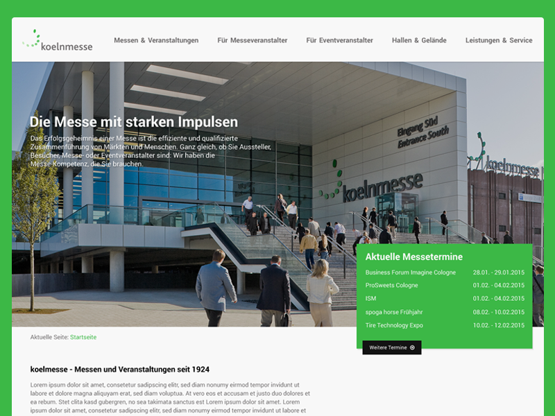 Redesign concept: koelnmesse webdesign redesign