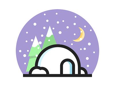 Christmas Illustration ❄️ moon snow ice igloo xmas illustration card christmas