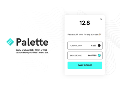 Palette - Colour Contrast Analyser menu app mac analyze analyse contrast color colour palette