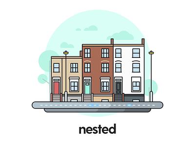 Ad website estate real home nested color colour line illustration advert