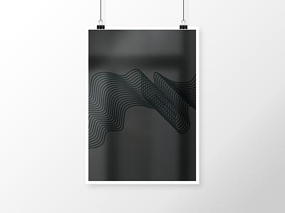 Poster - Waves black print river illustration poster