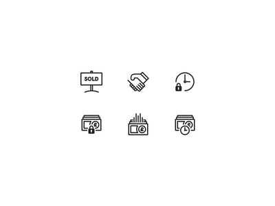 Icons real agency estate cash money simple line website page pricing illustration icon