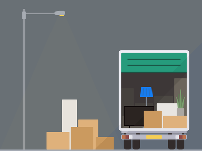 Lorry Illustration nested flat illustration removal truck home house moving move lorry
